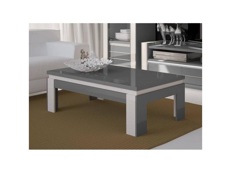 Table basse design lina grise et blanche brillante. Style moderne et design pour votre salon.