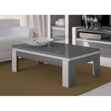 Table basse design lina grise et blanche brillante style Table grise conforama