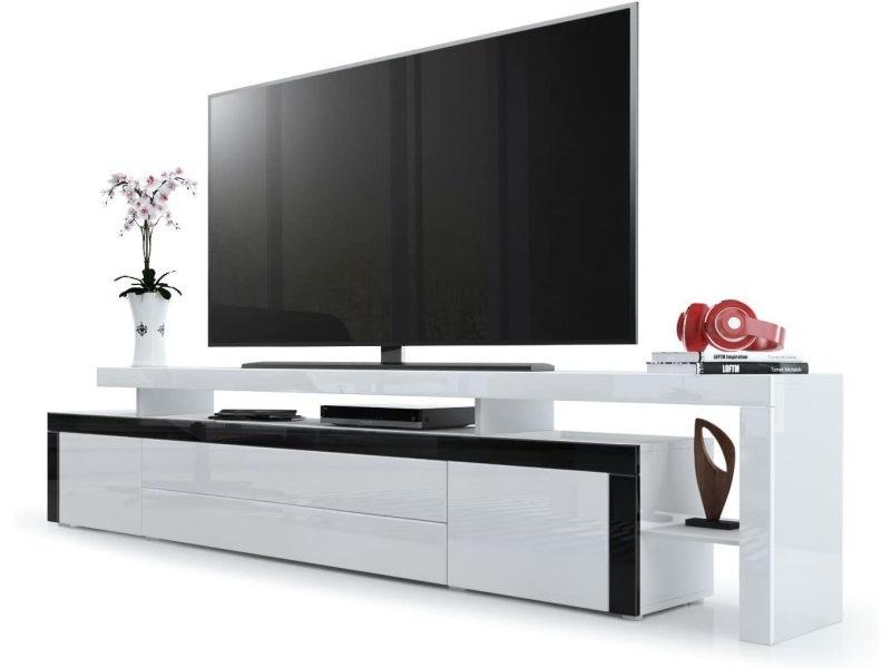 Meuble tv noir / blanc laqué 227 cm