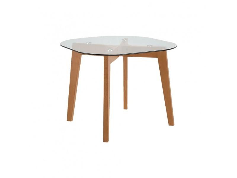 Table de repas 4 personnes en bois et plateau en verre - heaven 3153