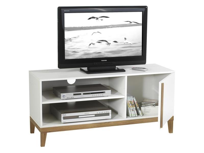 meuble banc tv vintage riga mdf blanc et bois vente de meuble tv conforama. Black Bedroom Furniture Sets. Home Design Ideas