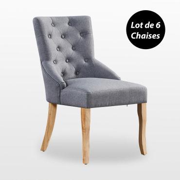 Kensington lot de 6 chaises capitonnées en tissu gris