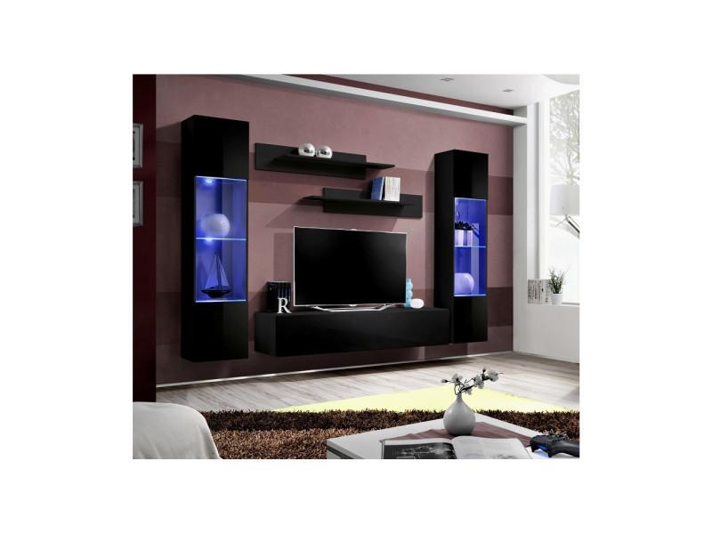 Ensemble meuble tv mural - fly iii - 260 cm x 190 cm x 40 cm - noir