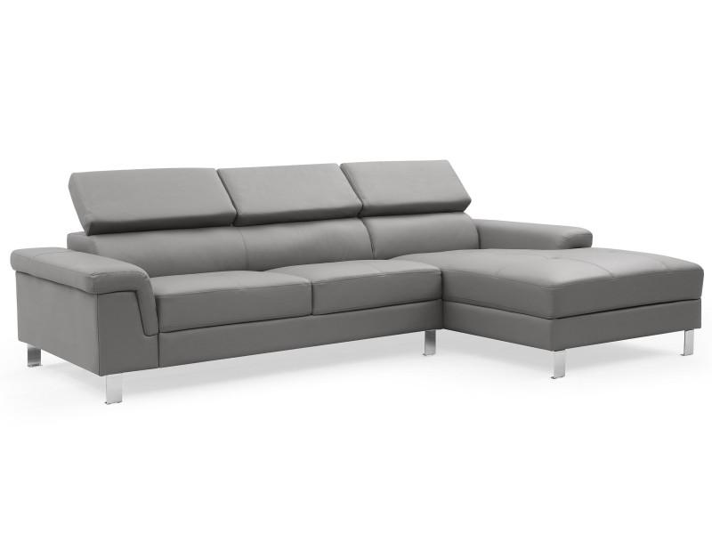 Canapé d'angle en cuir vex gris