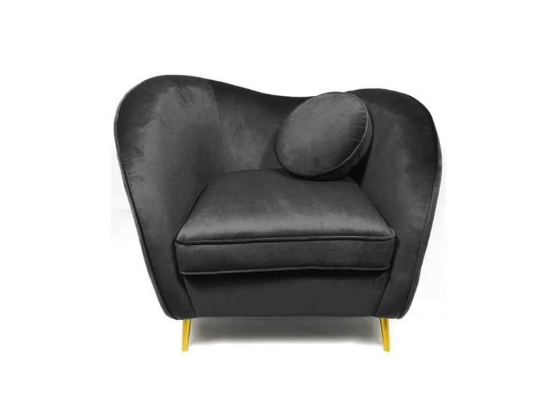 Legend fauteuil velours pieds métal or - noir