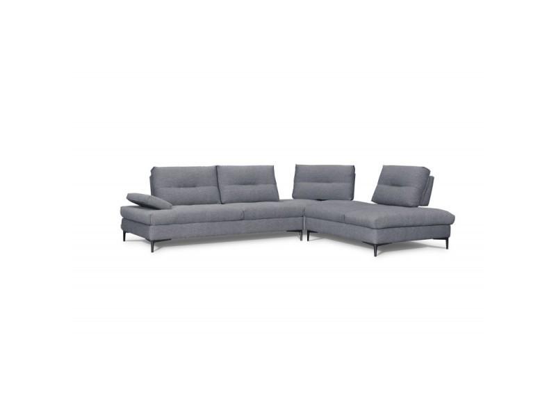 Canapé d'angle droit tissu gris - saturne