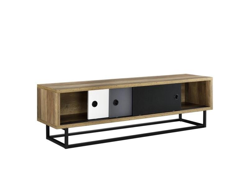Meuble tv avec 3 tiroirs 140 cm multicolore noir blanc gris marron helloshop26 03_0002866
