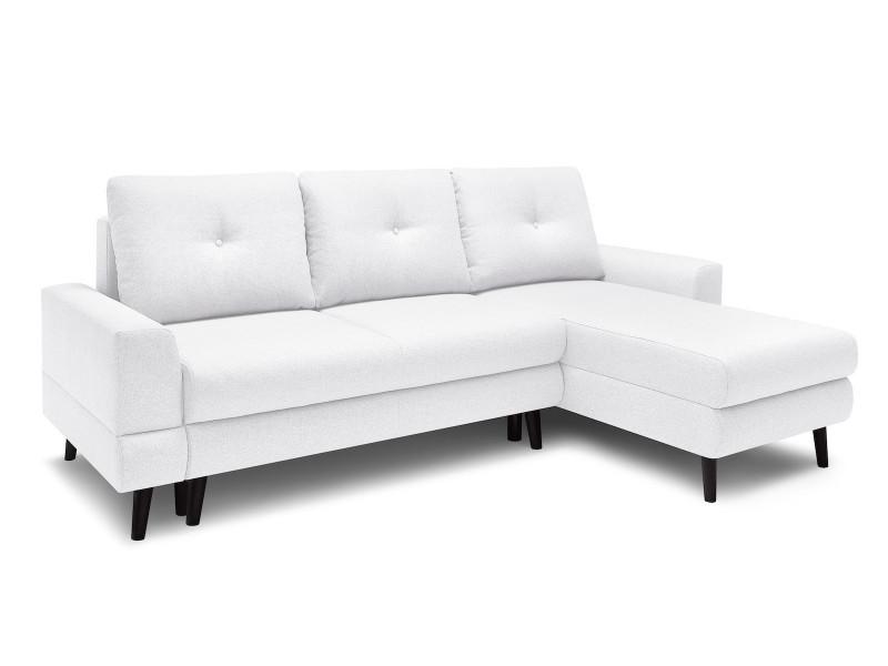 Canapé d'angle convertible coffre calanque blanc angle droit