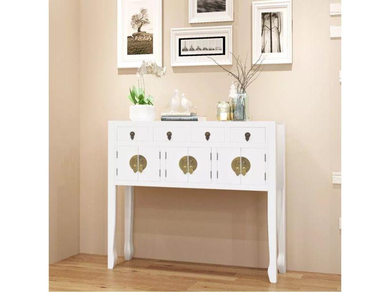 Chic armoires et meubles de rangement serie quito buffet en style chinois en bois massif blanc