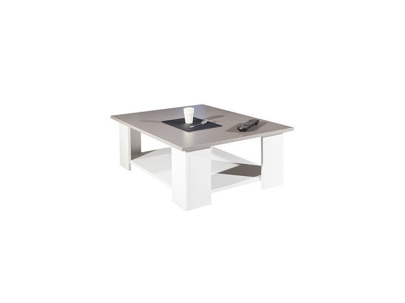 Table basse 89x67x31 cm blanc et plateau taupe - modern