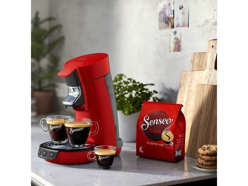 Machine à café à dosettes senseo de 0,9l 1450w rouge noir