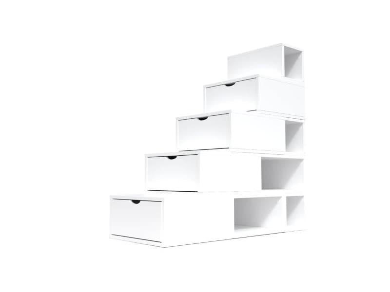 Escalier cube de rangement hauteur 125 cm blanc ESC125-LB