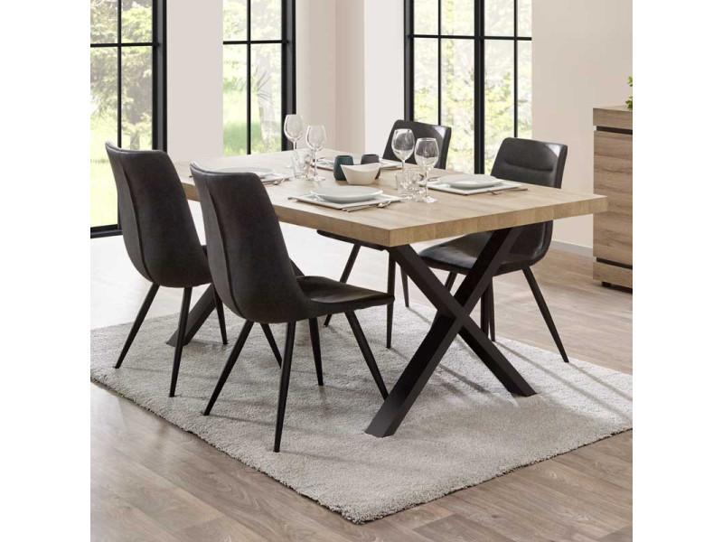 Table de repas 200 cm chêne naturel - courtrai - l 200 x l 100 x h 76 - neuf
