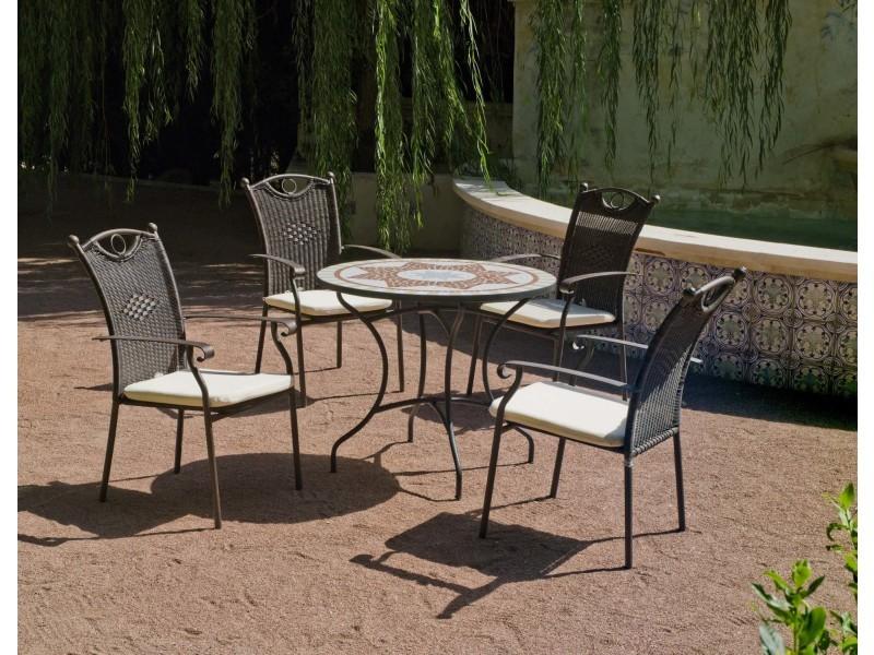 Salon de jardin résine métal et mosaïque aney beldey - Vente ...