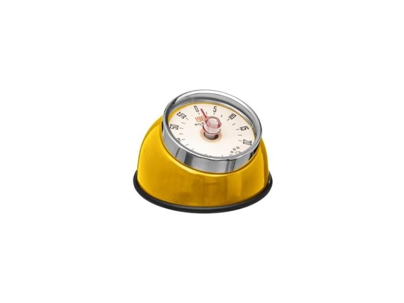 Minuteur retro magnétique - 8 x 5,5 cm - inox - jaune