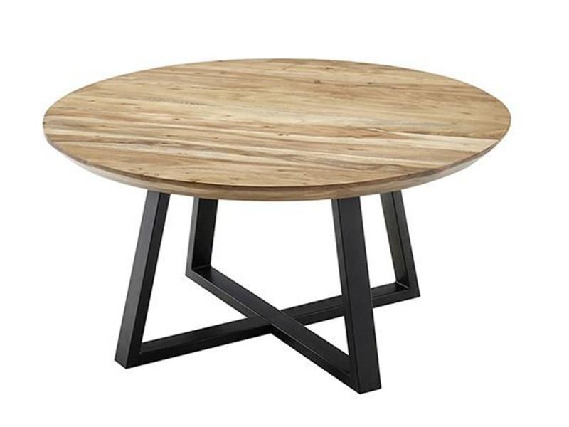 Table basse ronde en acacia massif nature - l.90 x h.45 x p.90 cm -pegane- PEGANE