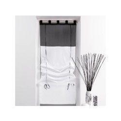 Un store droit à passant - rideau voile bicolore noir / blanc  45 x 180 cm