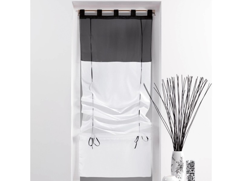 un store droit passant rideau voile bicolore noir blanc 45 x 180 cm vente de rideau. Black Bedroom Furniture Sets. Home Design Ideas