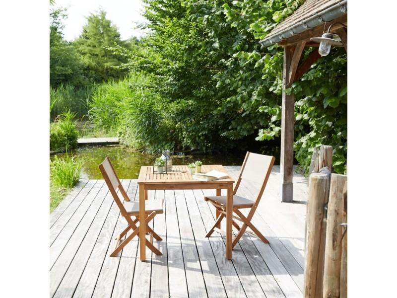 Salon de jardin en bois d\'acacia fsc 2 places - Conforama