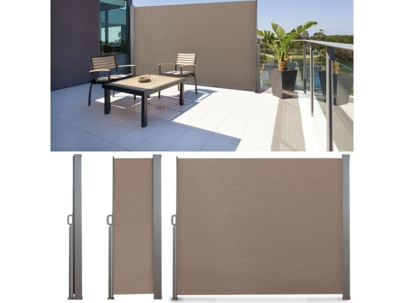 Paravent r tractable 300 x 180 cm store taupe lat ral for Paravent interieur conforama