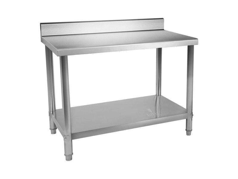 Table de travail inox avec dosseret 120 x 60 cm capacité de 110 kg helloshop26 14_0003698