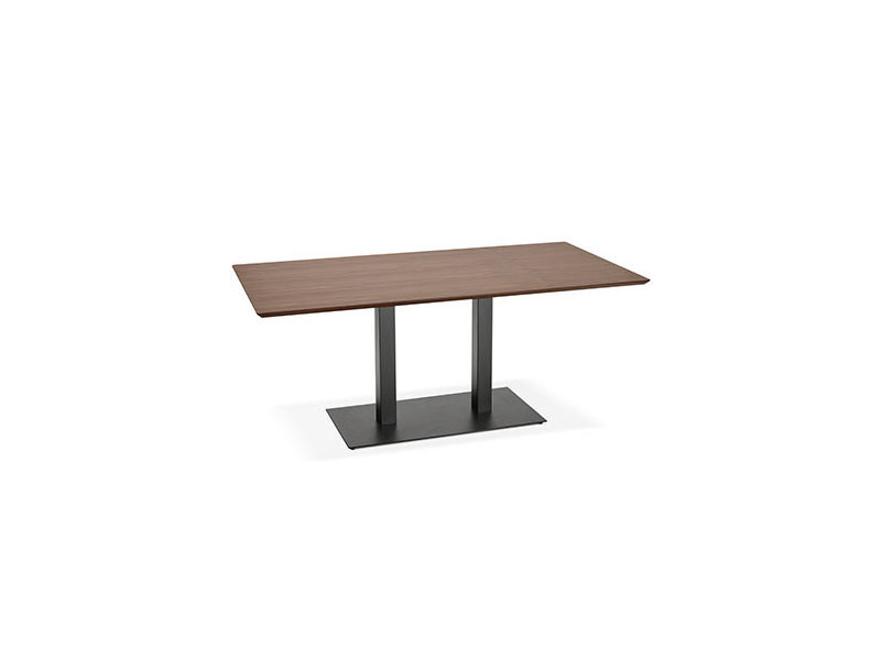 Table à manger design 180 cm en bois foncé et métal noir - lotus