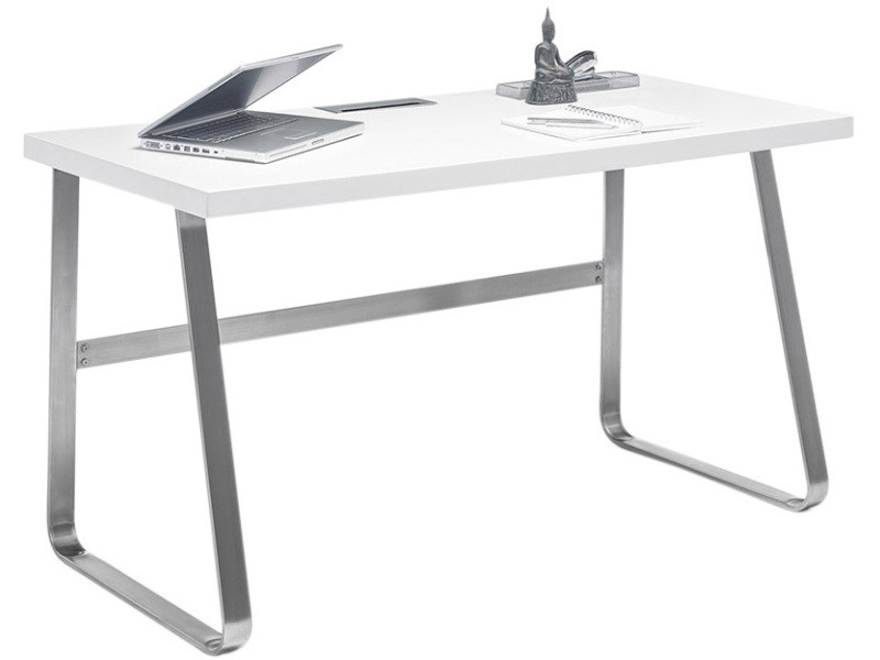 Bureau design en bois mdf blanc mat avec piètement en acier