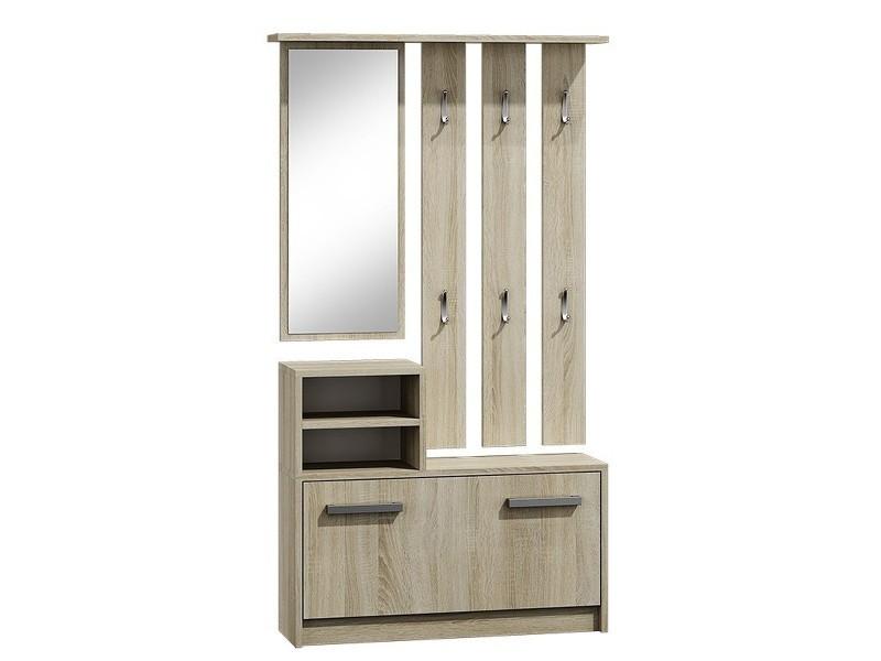 Vittoria | meuble d'entrée | meuble à chaussures | 180x85x24 cm | 6 crochets + miroir + rangement chaussures - sonoma