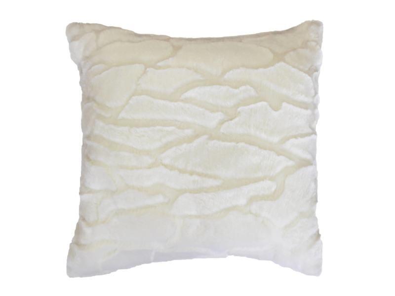 Coussin a poil doux 40 x 40 cm imitation fourrure ecaille blanc