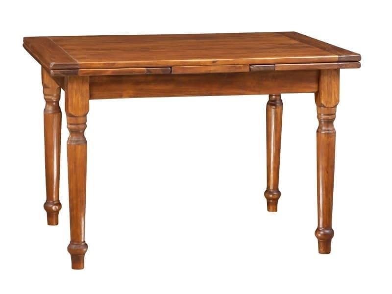 Table à rallonge en bois massif de tilleul, finition noyer l120xpr80xh80 cm