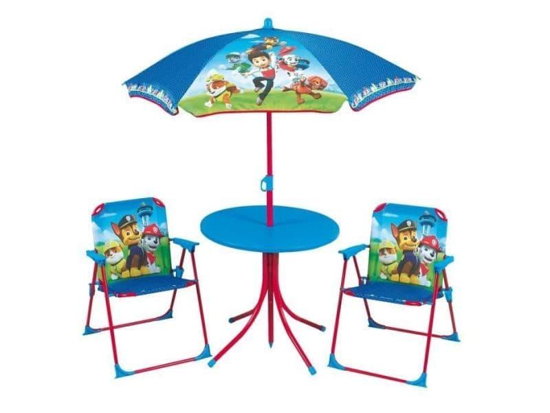 Fauteuil - chaise longue - matelas gonflable piscine pat patrouille salon de jardin composé d'une table, de 2 chaises pliables et un parasol pour enfant
