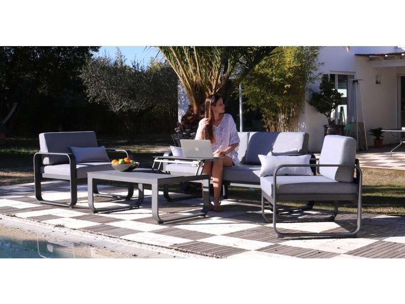 Mademoiselle kayla | ensemble salon de jardin palermo aluminium gris ...