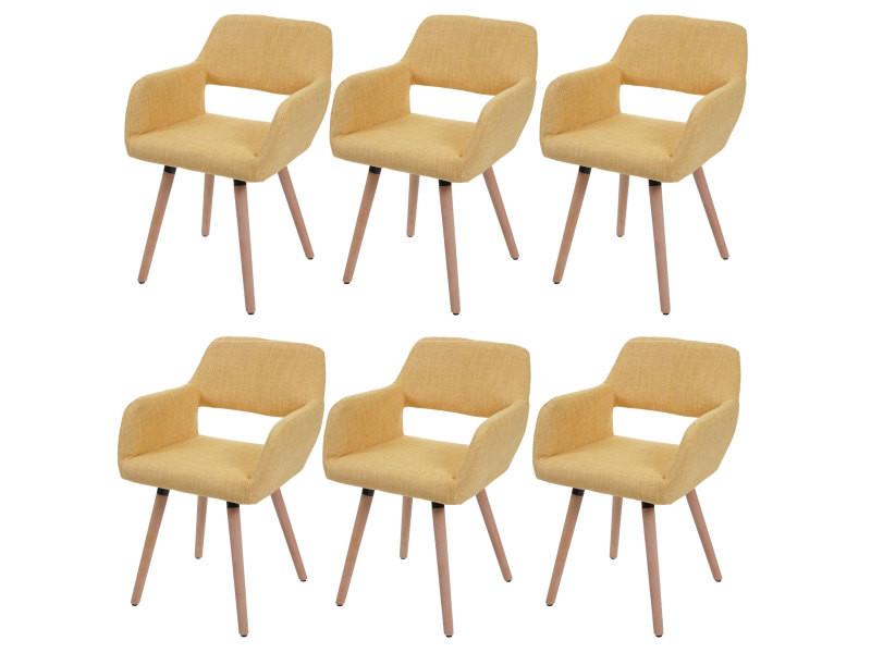 6x chaise de salle à manger hwc-a50 ii, fauteuil, design rétro des années 50 ~ tissu, jaune