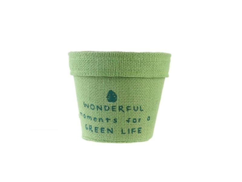 Cache pot en jute plastifié little garden - diam. 9 cm - vert clair