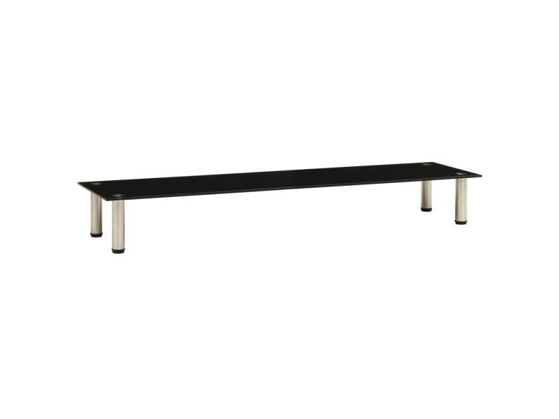 Vidaxl meuble tv noir 140x35x17 cm verre trempé 322773
