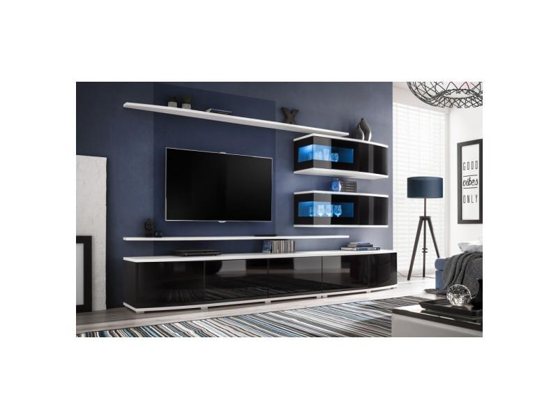 Ensemble murale meuble tv - sonic - 8 éléments - blanc et noir