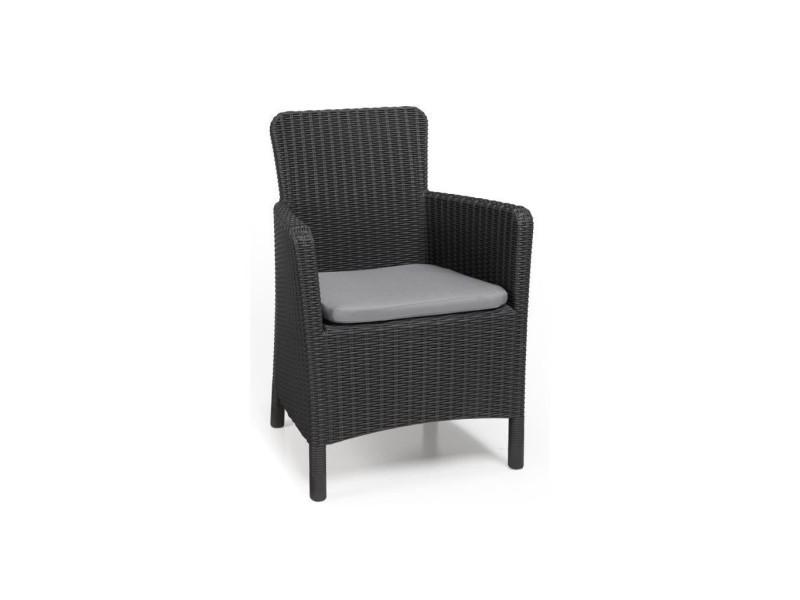 Allibert jardin fauteuil trenton graphite - imitation rotin tressé rond injecté avec coussin polyester gris 408946