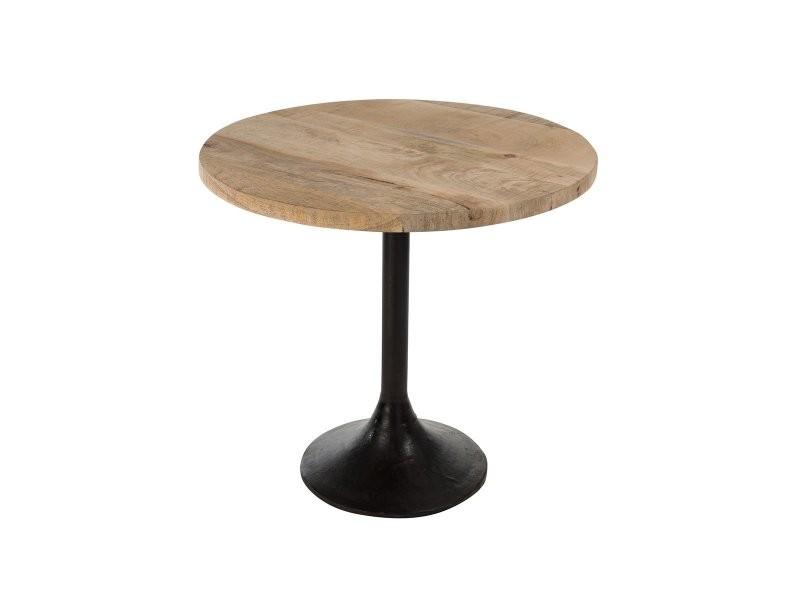 Table de bar 65cm pied métal plateau bois brok 80074