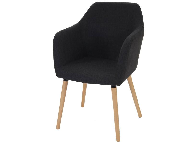 Chaise de séjour / salle à manger malmö t381 / style rétro des années 50 / tissu, gris foncé
