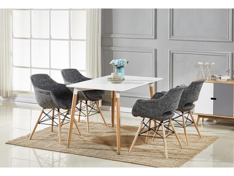 Table blanche & 4 chaises gris foncé en tissu olivia
