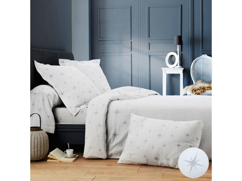 Blanc 50 x 70 cm CotonFLOR Figaro Taie doreiller Coton