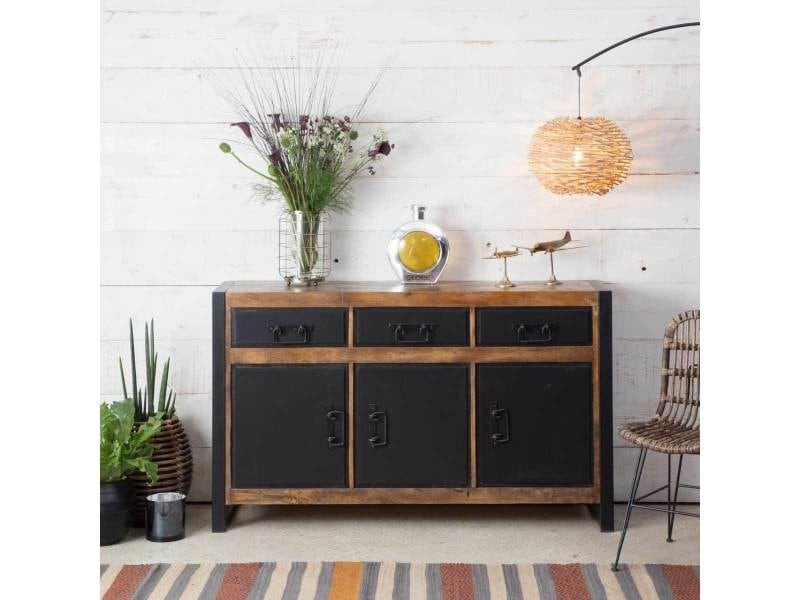 enfilade m tal et bois 3 portes 3 tiroirs mox24 vente. Black Bedroom Furniture Sets. Home Design Ideas