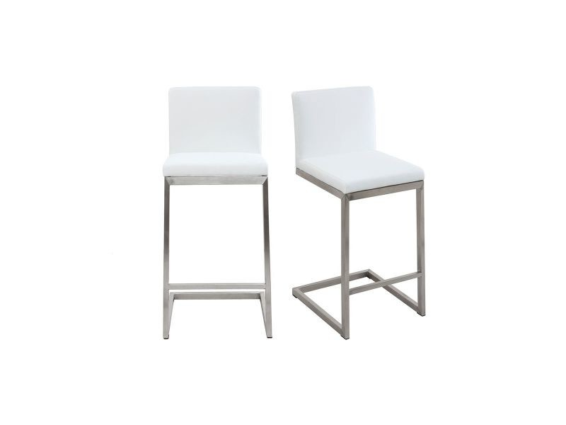 Tabouret De Bar Design Contemporain   Aluminium Et Pu Blanc (lot De 2)  Stellar