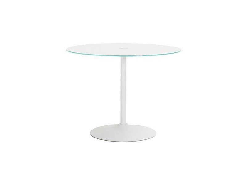 Table à manger ronde 100 cm en verre et métal blanc