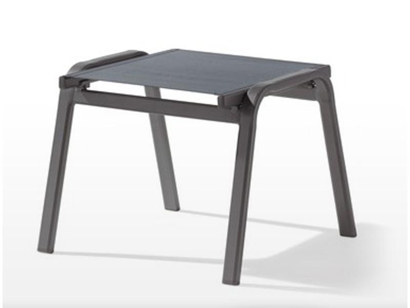 Tabouret en aluminium gris et tissu gris argenté - 56 x 57 x 44 cm -pegane-