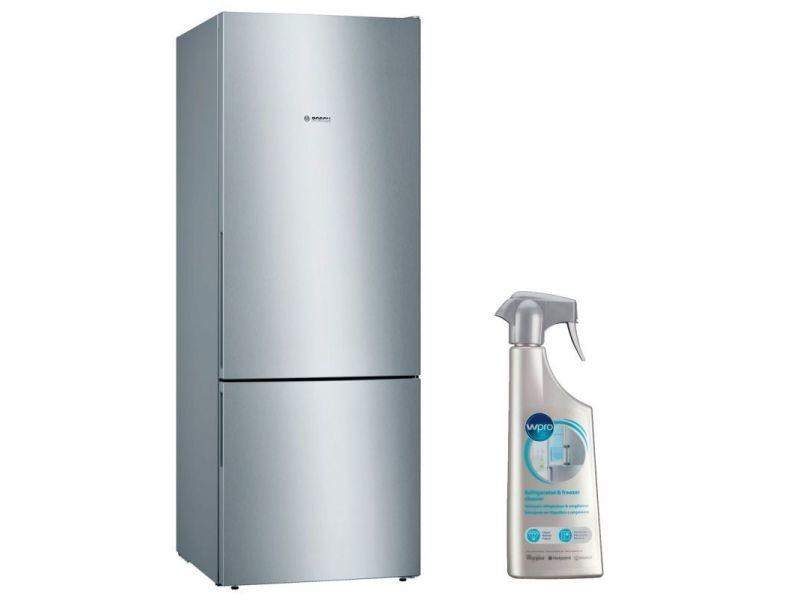Réfrigérateur frigo combiné inox 500l a++ froid brassé largeur 70cm