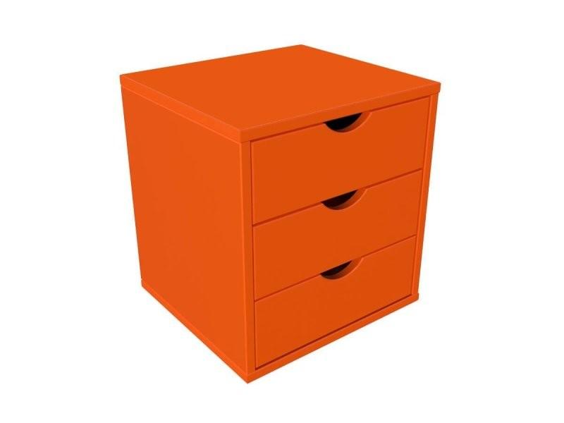 Bloc 3 tiroirs bois massif orange BLOC3T-O