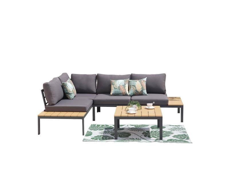 Salon de jardin canapé d'angle kobe gris 4 places