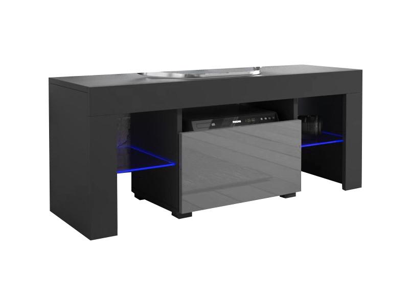 Meuble tv 110 noir mat / gris brillant + led rgb
