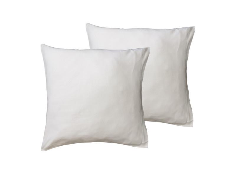 Lot de 2 protège oreillers coton biologique 200gr/m² organika supreme - blanc - 65x65